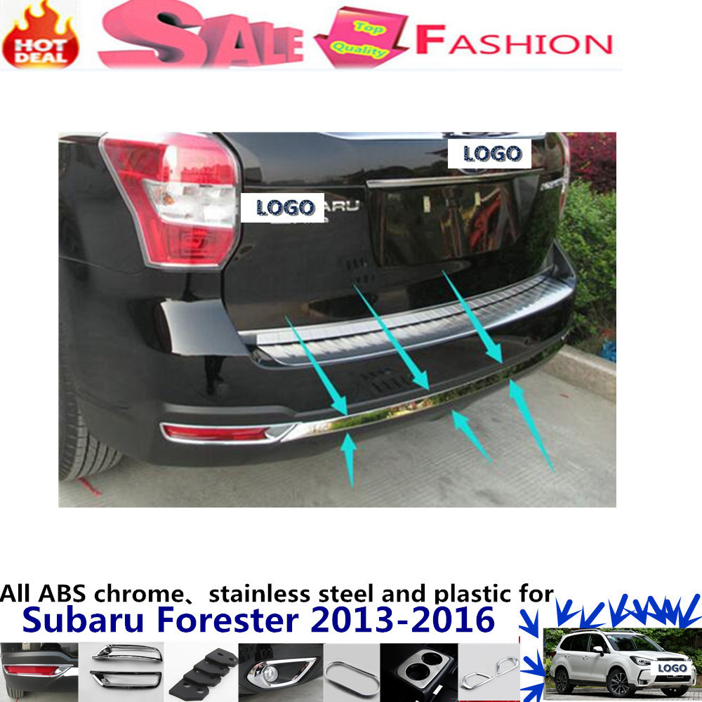 For subaru Forester 2013-2016 car styling cover detector stainless steel Rear door bottom Tailgate frame plate trim lamp 1pcs  stainless steel side door molding trim cover for 2013 up subaru forester