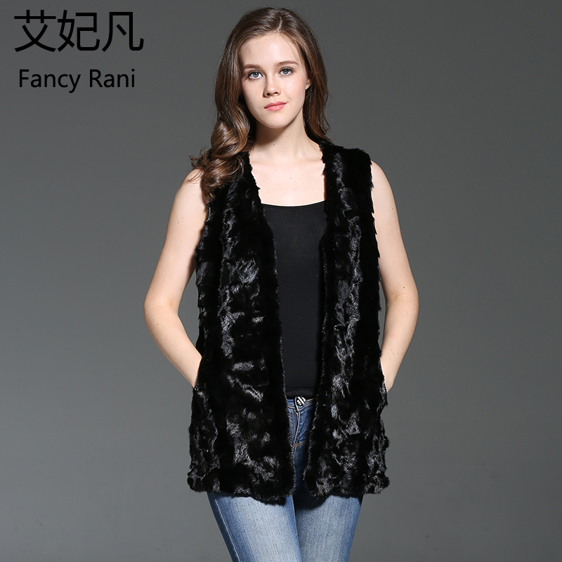 Fashion Real Mink Fur Vest Black Genuine Fur Coat Sleeveless Girls Vest Women Autumn Winter Jackets Natural Mink Fur Waistcoat