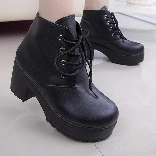 Nhà thiết kế 2019 Mùa Xuân Mới Thu Đông Nữ Giày Nữ Giày Cao Gót Đen Giày Phối Nền Tảng Mắt Cá Chân Giày Chun Gót Plus size 35 -45