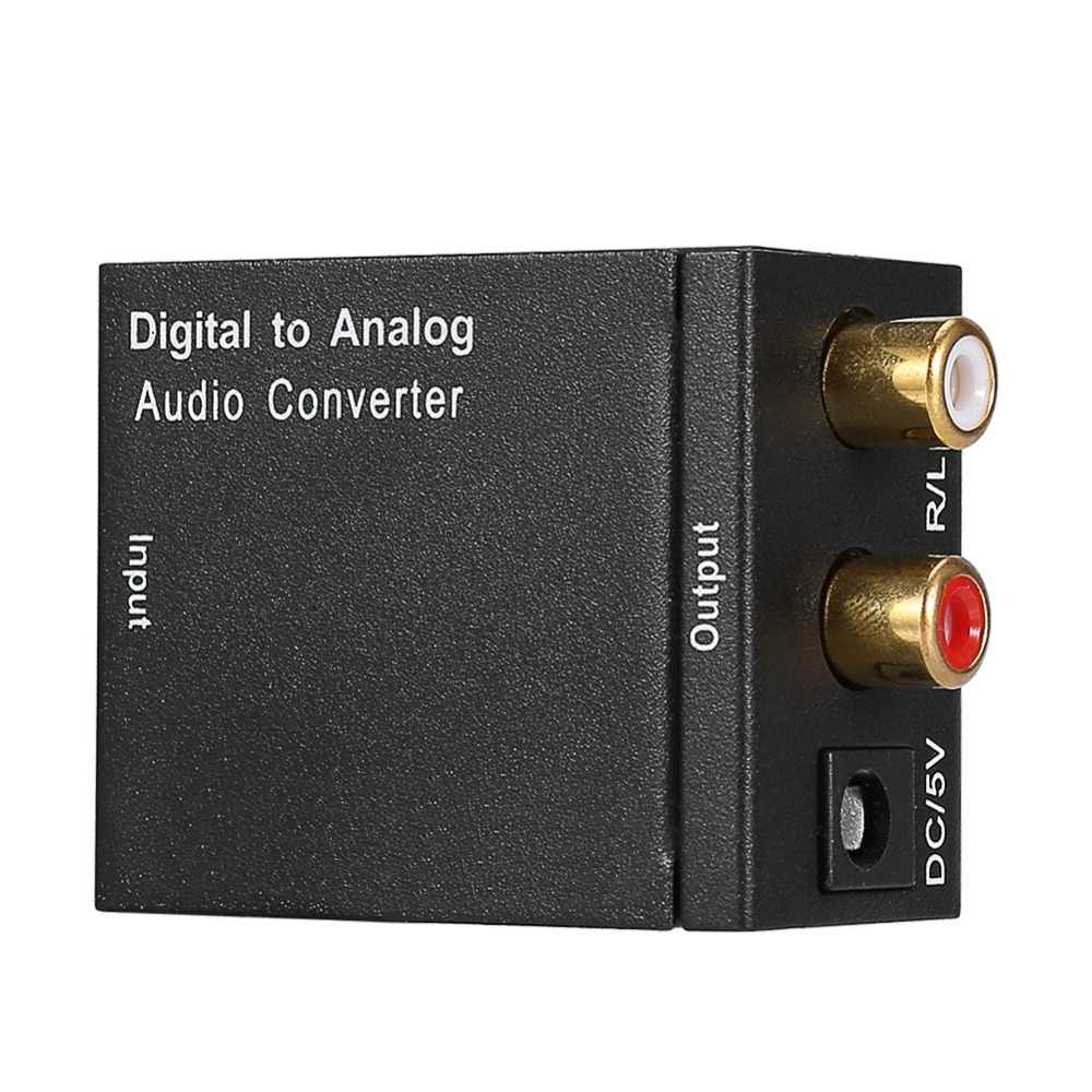 Digital Ke Analog Konverter DAC Digital SPDIF Toslink untuk Analog Stereo Audio L/R Converter Adaptor Coaxial dengan Optical kabel
