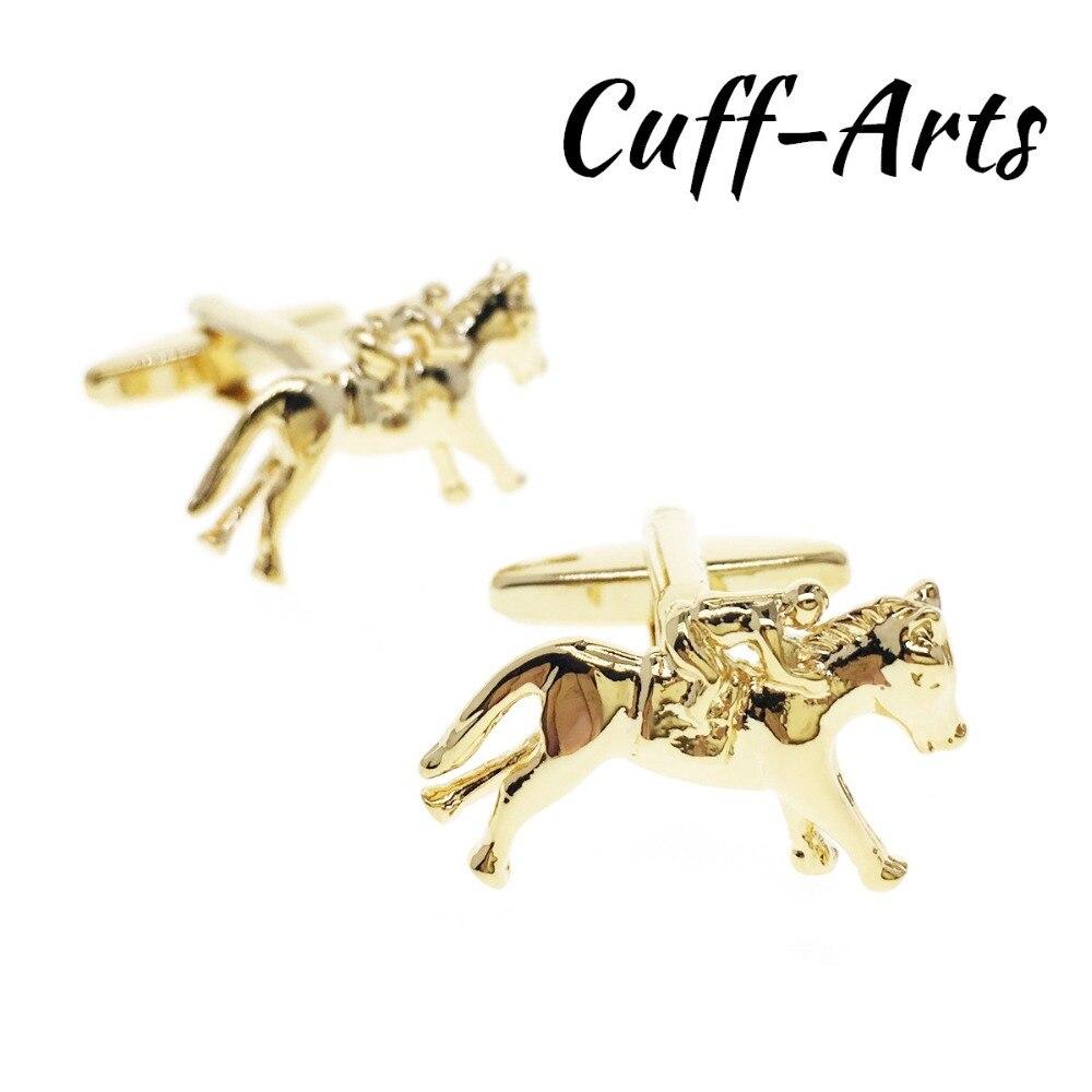 Golded Cufflinks For Mens Jockey Horse Cufflinks Shirt Cuff Links Gifts For Men  Jewelry Gemelos Bijoux Homme By Cuffarts C10186