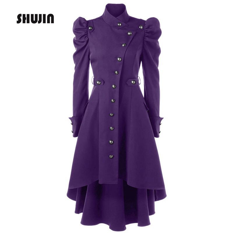 SHUJIN 2018 Vintage Women   Trench   British Style Slim Fit Long Coat Female Gothic Stand Collar Outwear Plus Size Party Clothes