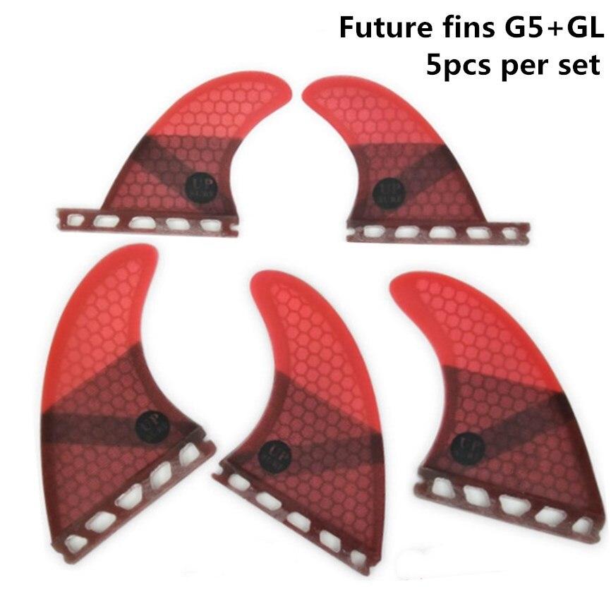 5 pièces/4 pièces ailettes ensemble Upsurf Fin Avenir G5 + GL Planche De Surf Ailettes En Fiber De Verre En Nid D'abeille Quad Ailettes Quilhas propulseur