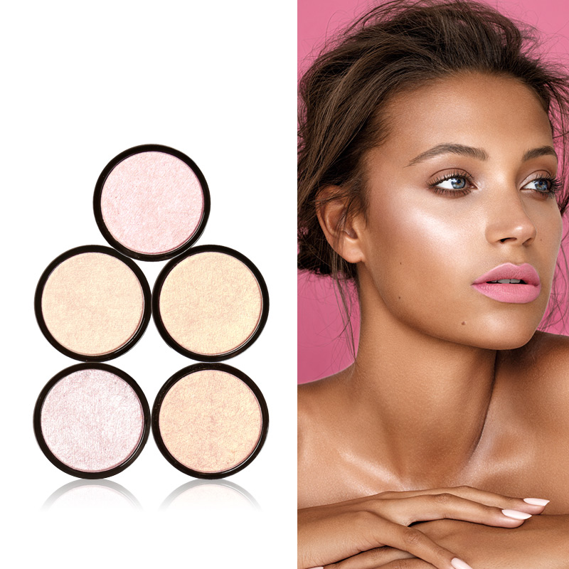 FOCALLURE 5 Colors Illuminator Brightening Face Pressed Highlighter Powder Easy to Wear for Face Shimmer  invisible bra