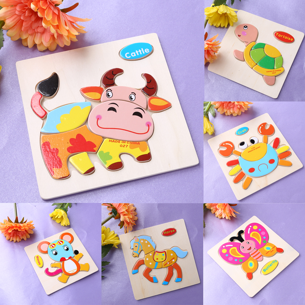 One Set Kids Jigsaw Puzzle Cartoon Animals Dimensional Puzzle Force Children Wooden Jigsaw Puzzle Kids Education Learning Toys pilsan puzzle 4x4 animals