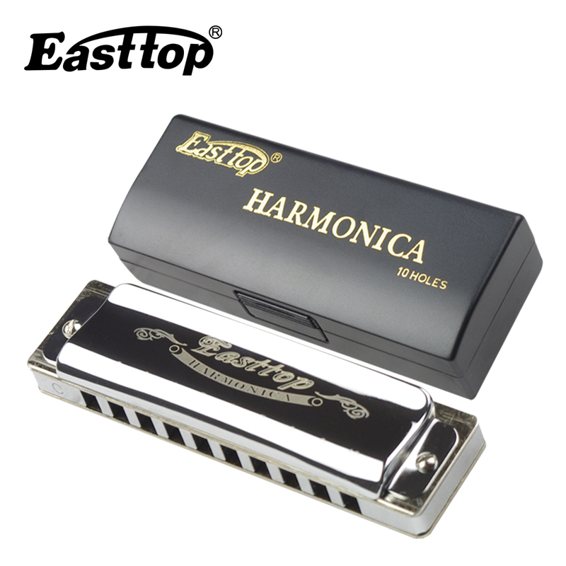Easttop Professional Harmonica Copper Comb Harmonika 10 Hole Diatonic Blues Harp woodwind gaita musical instruments Mouth Organ 7pcs set swan 10 hole 20 tone harmonica senior diatonic blues harp 7 tune set mouth organ sliver color with gift box gaita