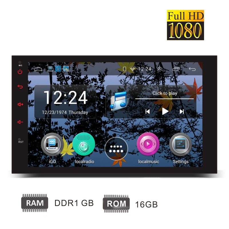 7 2din head unit Quad core car font b radio b font Android 1080P GPS WiFi