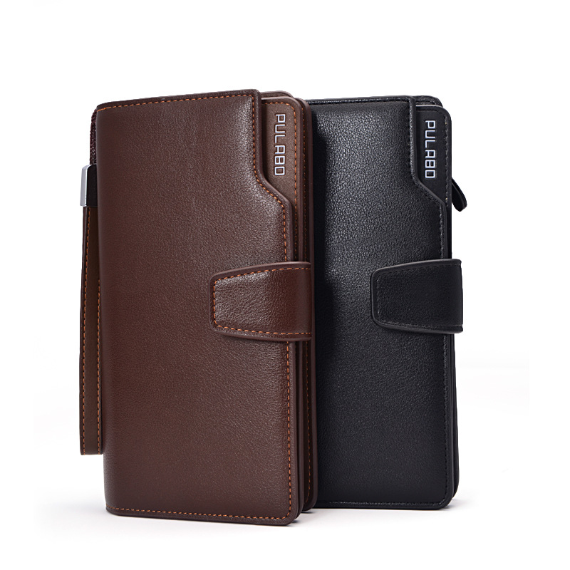 2016 Mens PU leather zipper long wallet paragraph large capacity multi-card bit handbag authentic spot wholesale business purse