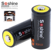 2pcs/set Soshine 3V RCR123 16340 600mAh LiFePO4 Rechargeable battery with Protec