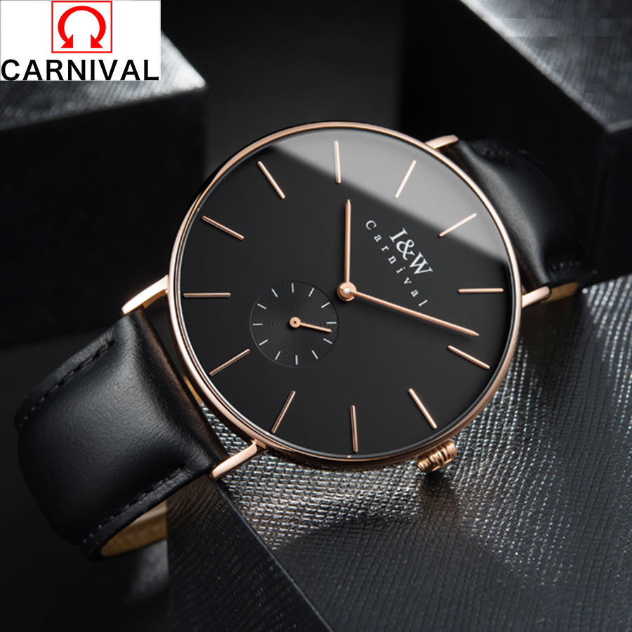 все цены на CARNIVAL Mens Watches Top Brand Luxury Quartz Watch Casual Leather Men Wrist Watch 30M Waterproof Male Clock Relogio Masculino онлайн