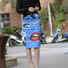 2019 Sexy Pencil Bodycon Knee-Length cartoon face printing Bandage Skirts Work Summer