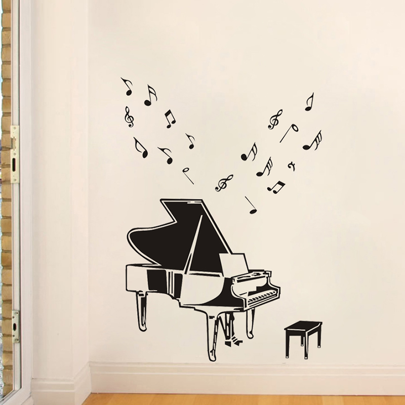 Jjrui concert grand piano classical musical notes instruments wall stickers music art decals room vinyl stickers in wall stickers from home garden on