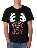Tailored Shirts Short Sleeve Printing Crew Neck Men S T Shirt Feel The Joy Cute Christmas