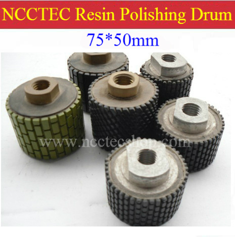 3'' NCCTEC M14 Thread Diamond Buffing Polishing Resin Drum Wheels 3PD1 | 75*50mm DRUM-TYPE Polishing Pad | FREE Fast Shipping