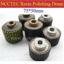 3 NCCTEC M14 thread Diamond buffing polishing resin drum wheels 3PD1   75*50mm DRUM-TYPE polishing pad   FREE fast shipping