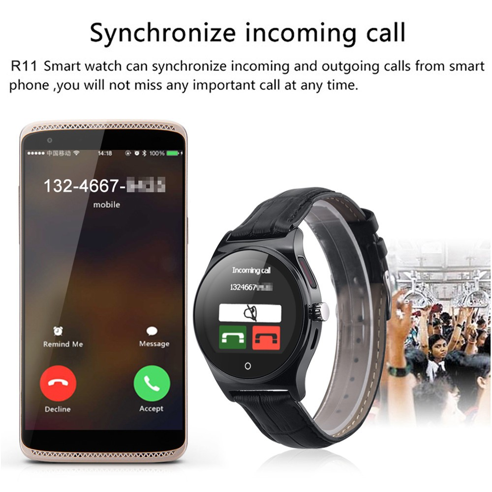 Hot RWATCH R11 Smart Watch Infrared Remote Controller Heart Rate Calls SMS Sedentary Reminder BT Music Pedometer for Android IOS18