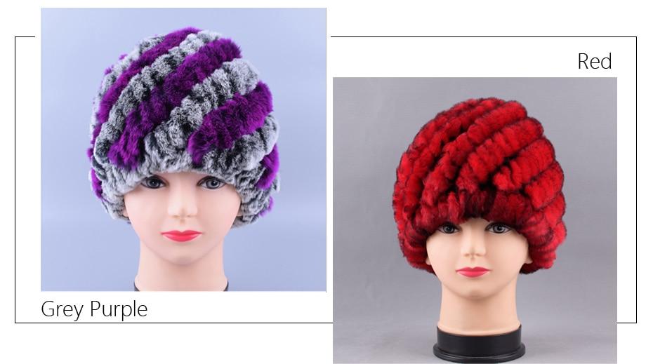 Raglaido Rabbit winter fur hat for Women Russian Real Fur Knitted Cap headgea Winter Warm Beanie Hats 2019 fashion brand LQ11279 32