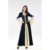 Women Halloween Princess Cosplay Dress Velvet Flare Sleeve Maxi Dress Gothic Vintage Bandage Long Dress