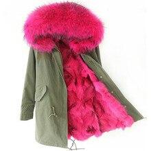Winter Jacket Women 2016 Army Green long Parka Coats Real Large Raccoon Fur Collar Fox Fur Lining Hooded Outwear Free DHL EMS