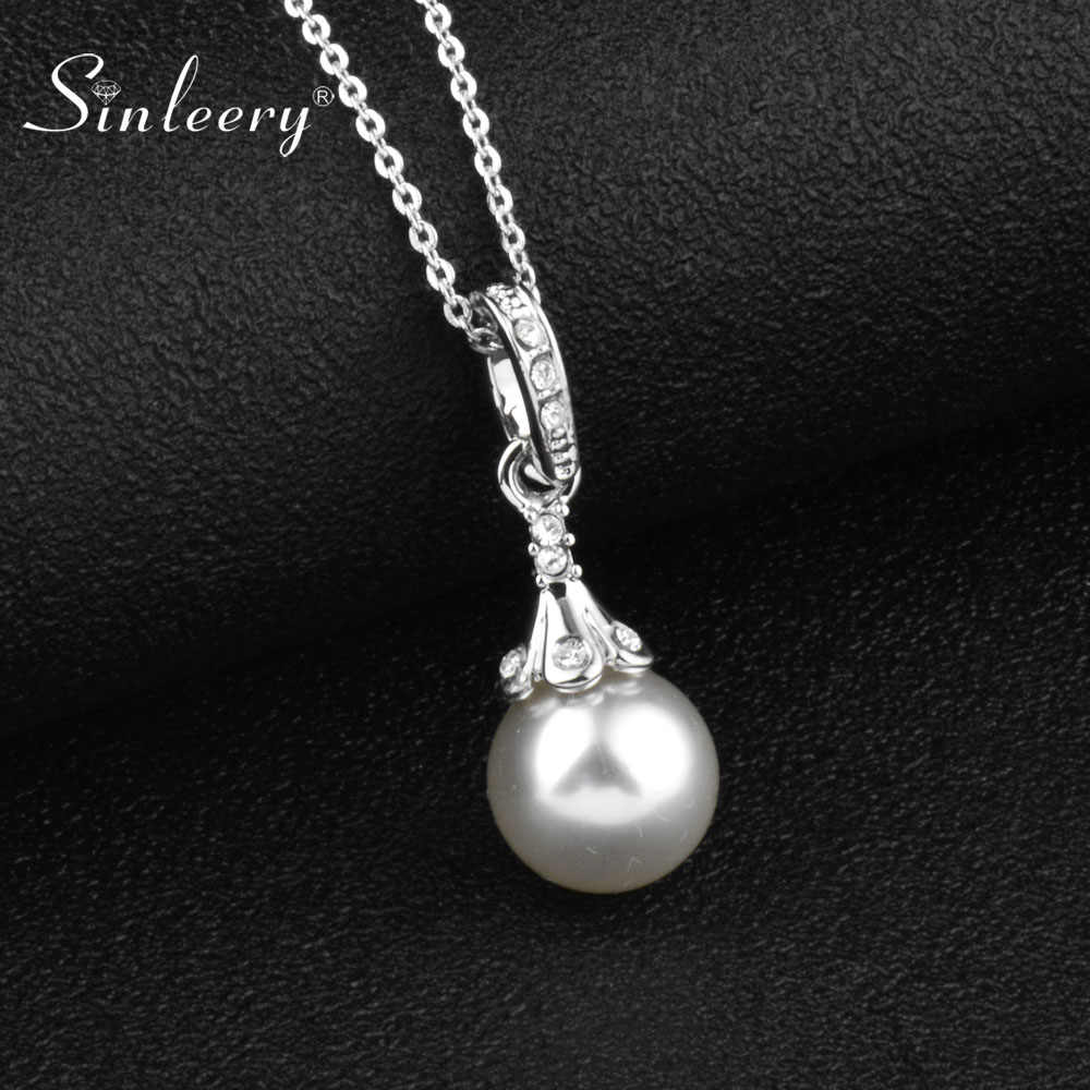 SINLEERY Elegant Simulated Gray White Pearl Pendant Necklace Female Silver Color Chain Bridal Wedding Necklace Jewelry XL657 SSH
