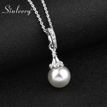SINLEERY Elegant Simulated Gray White Pearl Pendant Necklace Female Silver Color Chain Bridal Wedding Necklace Jewelry XL657 SSH(China)