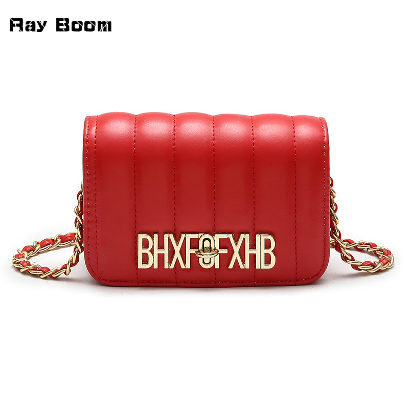 Ray Boom Luxury Brand Design Metal Letters Women Shoulder Bag High Quality PU Leather Purse Female Shopping Party Essential 2018