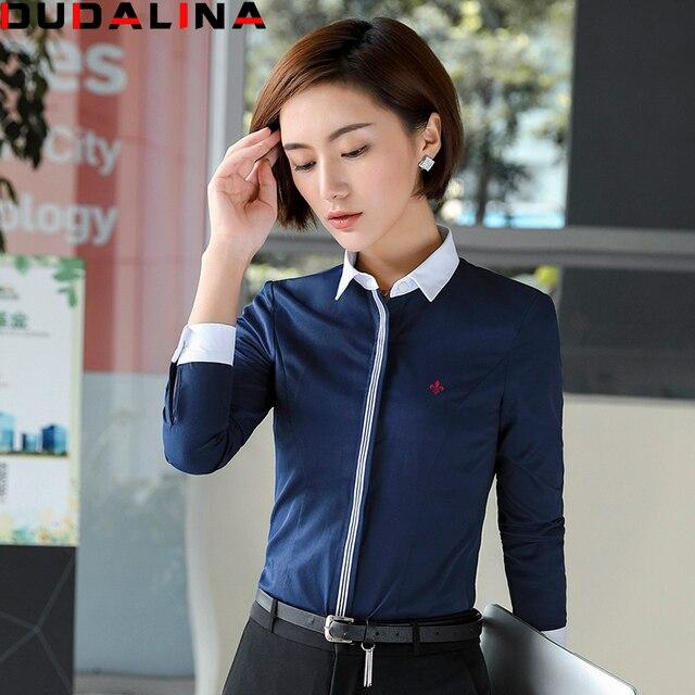 467a358bc591 US $23.79 |Dudalina New Blusas OL Shirt Femininas Camisas Long Sleeve Shirt  Women Clothes Fight Color Fashion Clothing Chemise Femme-in Blouses & ...