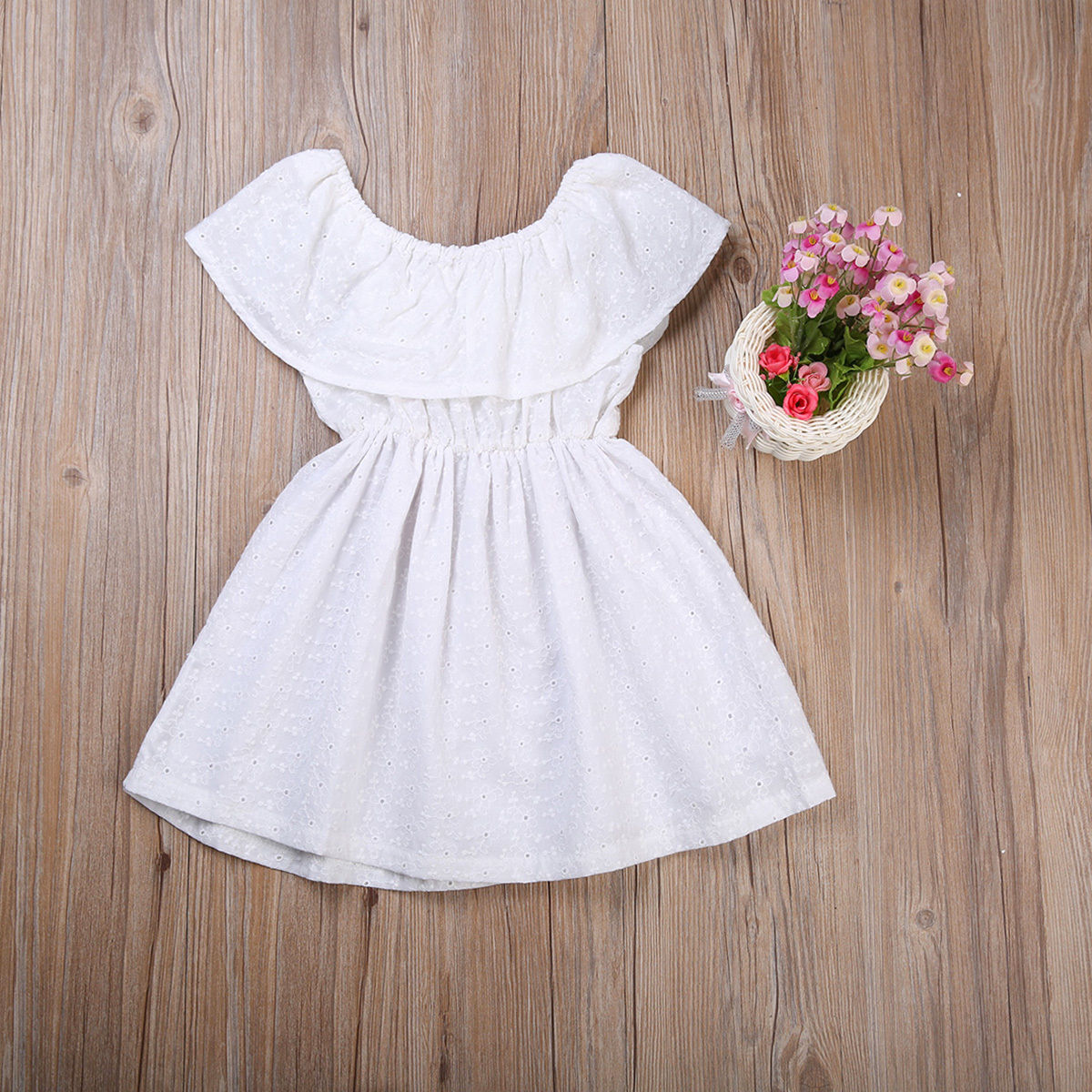 Girls White Ruffle Dress