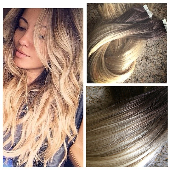 7a Blonde Ombre Cuticle Keratin Tape In Hair Extensions Virgin Human