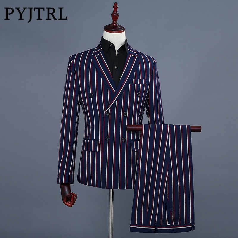 PYJTRL Brand Men's Fashion Blue Stripe Blazer Pants Two Piece Groomsmen Wedding Suit Mens Suits Latest Coat Pant Designs 2018