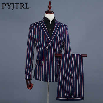 PYJTRL Brand Men's Fashion Blue Stripe Blazer Pants Two Piece Groomsmen Wedding Suit Mens Suits Latest Coat Pant Designs 2018 - DISCOUNT ITEM  50% OFF All Category