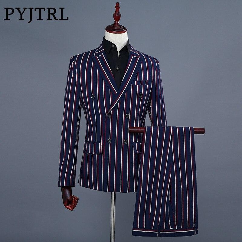 PYJTRL Moda Listra Azul Blazer dos homens da Marca Calças de Duas Peças Terno Do Casamento Dos Homens Padrinhos Ternos Mais Recentes Modelos Casaco Calça 2018