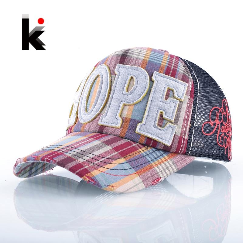 Sombreros del sol del Snapback para las muchachas Hope Aplique Bordado Malla transpirable Verano Gorras 5 Panel Hip Hop Gorra de béisbol Huesos unisex