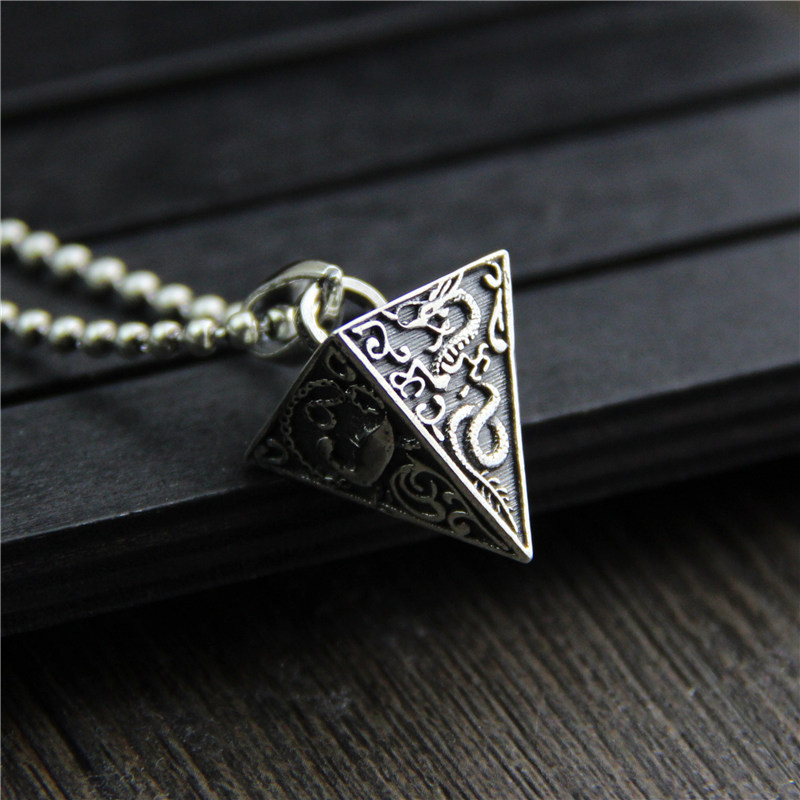 цена на silver jewelry four sterling silver 925 pendant Pyramid animal retro Thai silver jewelry for men auspicious religious pattern