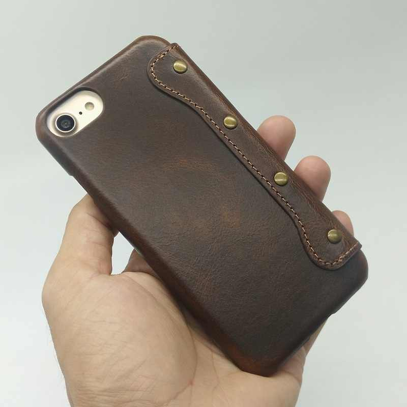hot sale online 3a6fc 2a997 Solque Real Genuine Leather Flip Cover Case For iPhone 8 Plus Cell Phone  Vintage Luxury Men Women Thin Slim Book Wallet Cases