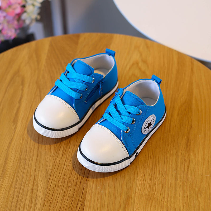 Children Soft Bottom Spring Canvas Shoes Goosegrass Bottom Boy Casual Shoes Belt Stars Pure Color Sports Shoes of The Girls