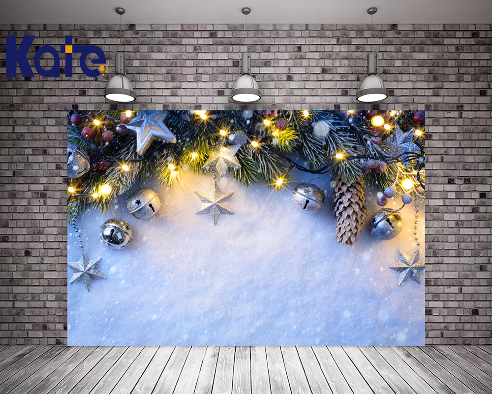 Kate Christmas Photography Backgrounds Frozen Snow Winter Backdrop Bell Yellow Lights Happy New Year For Children Photo Studio happy new year light winter fireworks stars photo backdrop vinyl cloth computer printed children backgrounds