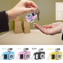 Car Key Chain LED Lighting and Sounding Camera Style Keyring Fashion SLR Camera Shape Keychain Car Styling Blue Pink Yellow