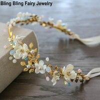 Fashion Gold Leaf Bridal Headband Handmade Shell Flower Pearl Crystal Wedding Headpiece Women Hair Accessories Free