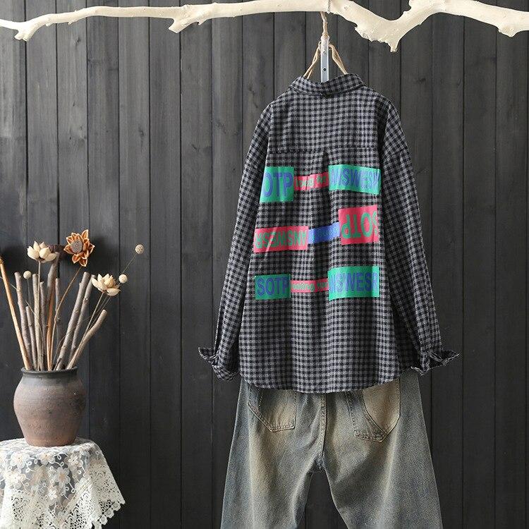 Femenina Lino Grande Otoño Arte Negro Vintage Rebeca Algodón Ropa Tamaño Casual Suelta Mujeres Impresión Camisa Plaid Loose Patchwork avq7UU