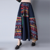 National Wind Retro 2017 Spring And Summer New Printed Cotton And Linen Long Skirt Female