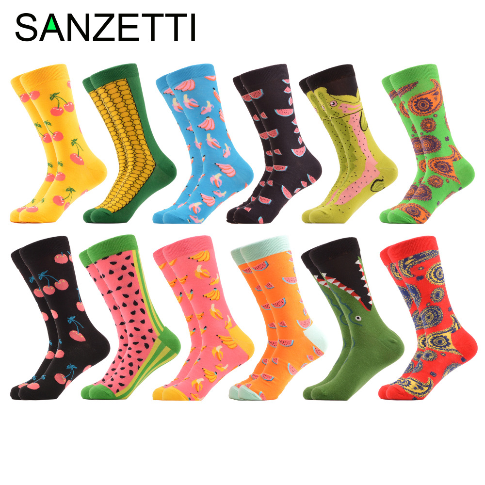 SANZETTI 12 pairs/lot New Arrival Colorful Mens Combed Cotton Casual Wedding Socks Novelty Banana Alligator Pattern Funny Socks