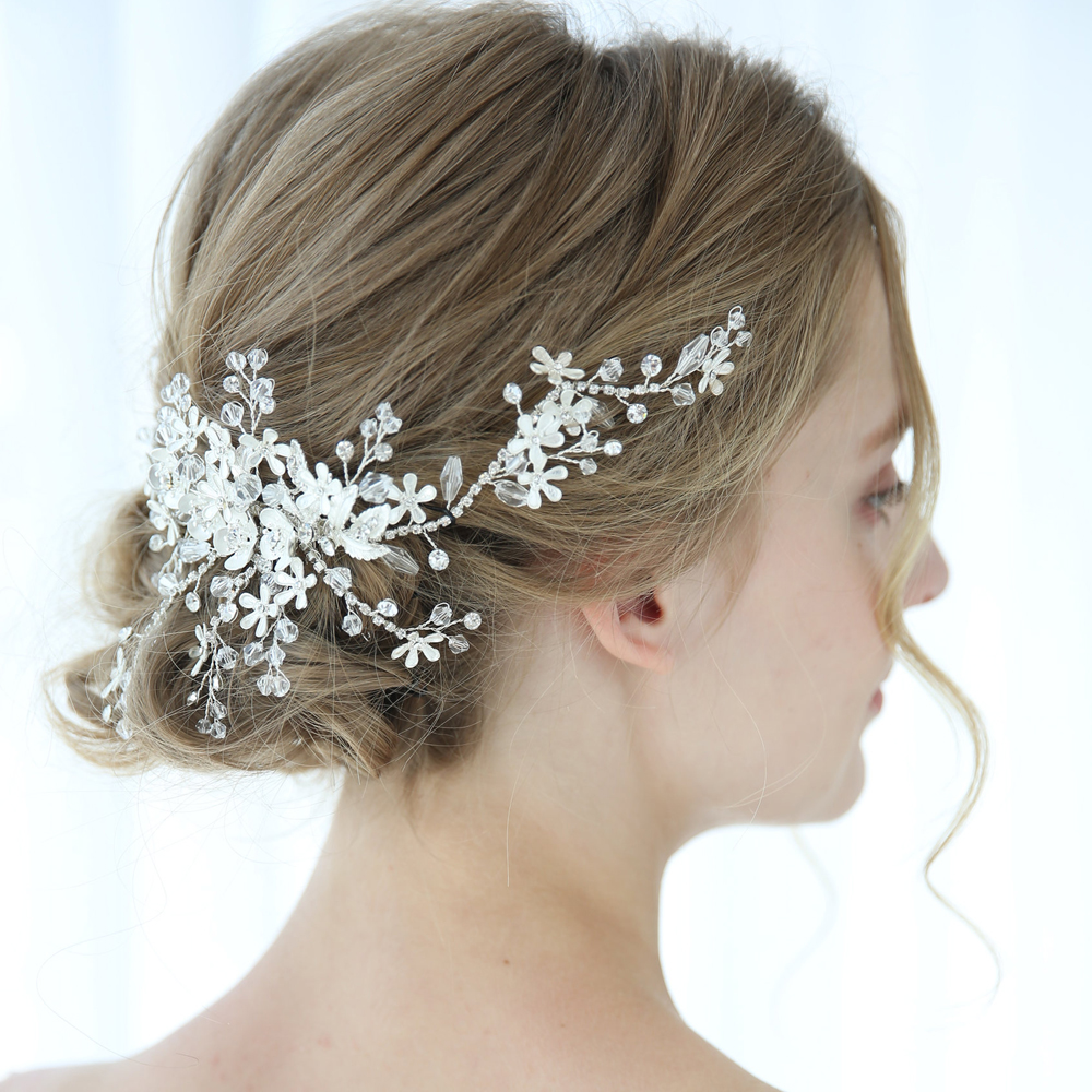 Luxury Crystal Bridal Headpiece Floral Wedding Hair Comb Hair Vine Handmade Fashion Hair Accessories Brides Jewelry in Hair Jewelry from Jewelry Accessories