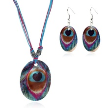 Bohemian Ethnic Ornament Geometric Seashell Painting Peacock Feather Pendant Necklace Jewelry