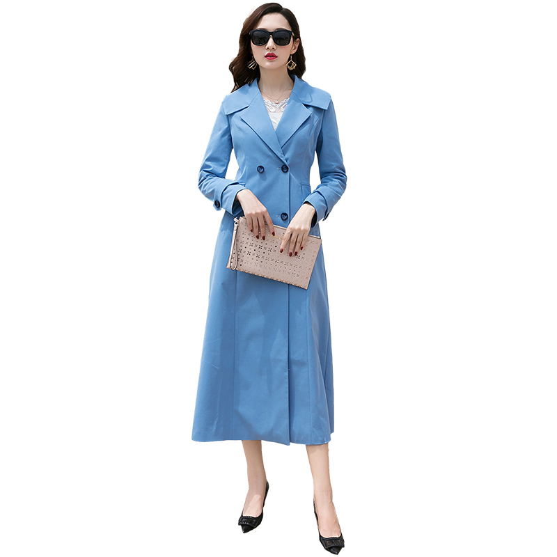 beautiful clothes 2019 spring the new pop trench coat female waist knee-length coat blue 892 long cultivate morality