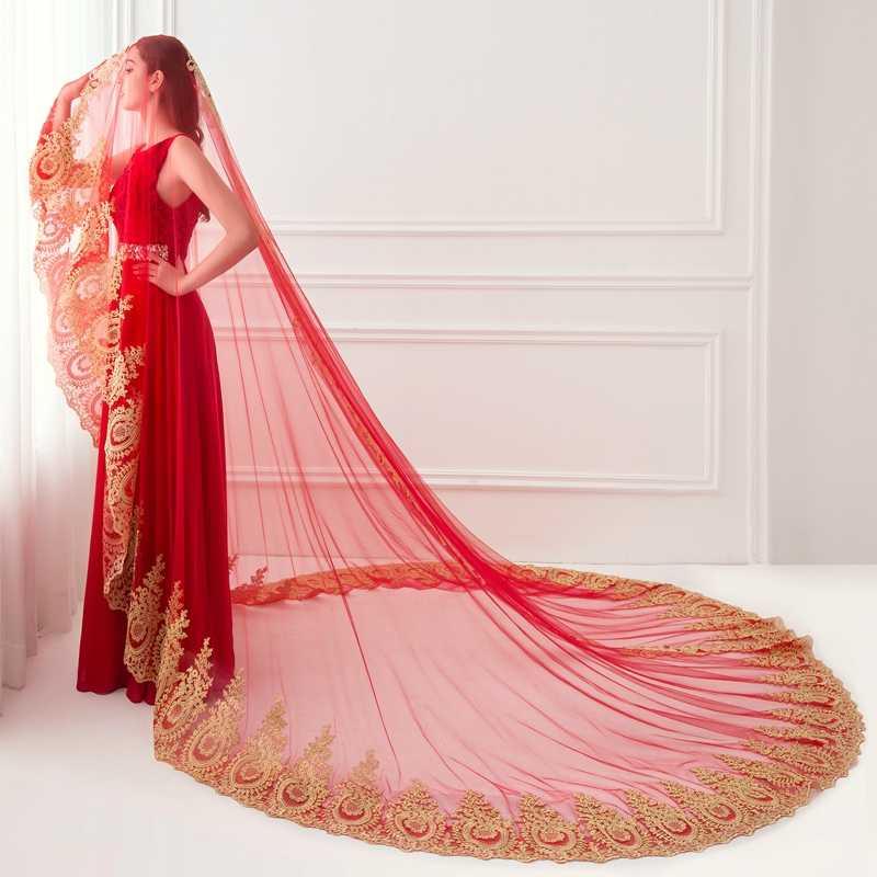 Romantic Lace Edge Bridal veil 2020 White Ivory Red 3.5 Meter Wedding veil Sexy veu de noiva bride sluier vestido de noiva