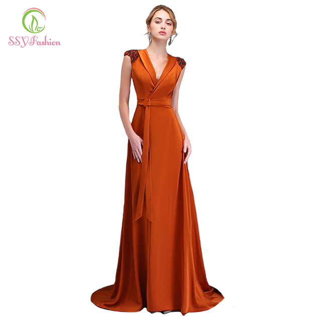 78c85c1feb73 SSYFashion New Evening Dress Simple Caramel Colour Beading V-neck Sleeveless  Sweep Train Long Party Gown Custom Formal Dresses