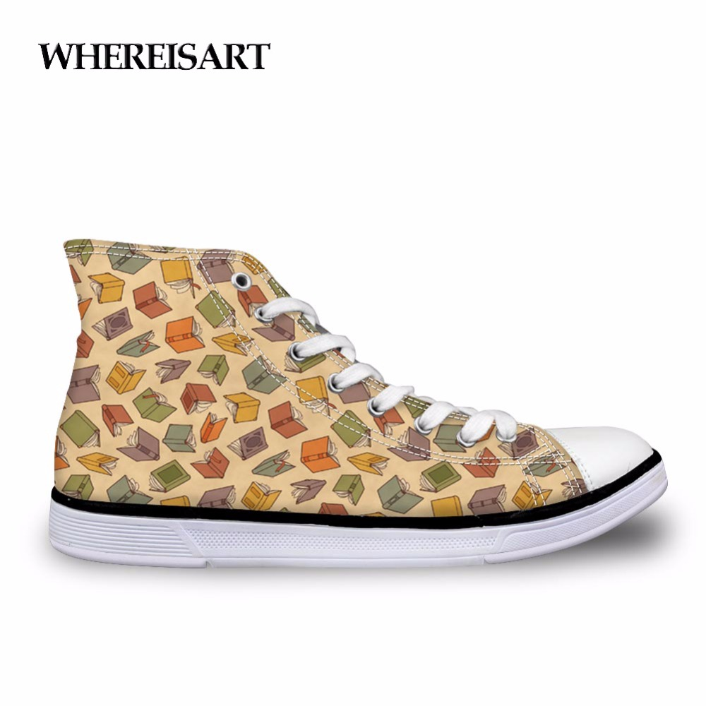 WHEREISART Trendy Fashion Book Lover Vulcanize Shoes Breathable High Top Canvas Shoes for Men Personalized Male Sneakers Zapatos
