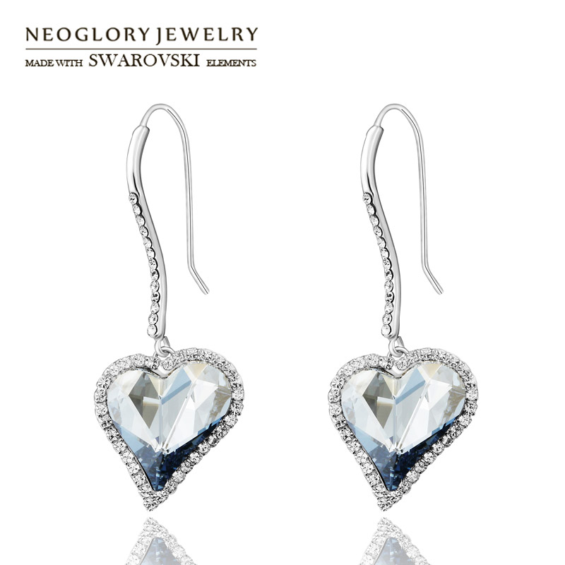 Neoglory MADE WITH SWAROVSKI ELEMENTS Crystal Rhinestone Drop Long Earrings Love Heart Design For Women Classic