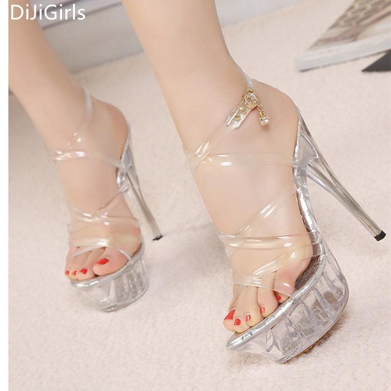 e030dbbe473619 Big size 35-43 Tenacity Clear PVC Women Sandals Transparent Crystal High  Heels Platform Sandals